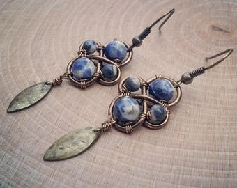 Mother Earth Stone Earrings with Brass Leaf Drop
