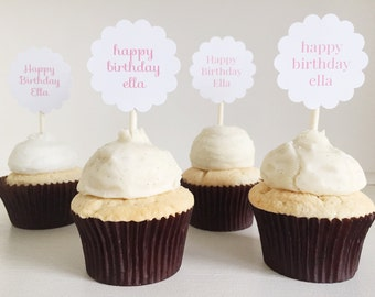 happy birthday personalized cupcake toppers set of 12- 1 dozen