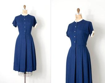 vintage 1950s dress / navy blue 50s dress / Best Buttons