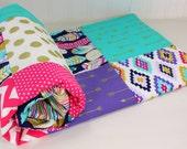 Baby Girl Blanket, Minky Blanket, Crib Bedding, Magenta, Pink, Turquoise, Purple, Gold, Aztec Nursery, Tribal Nursery, Feather, Arrows, Teal
