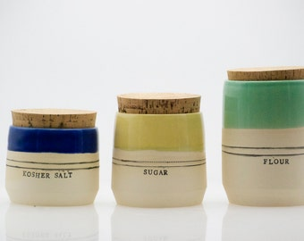 Stoneware kitchen canisters - Canister set - Kitchen storage - Housewarming gifts - Custom wedding gift - Rustic home
