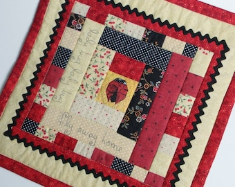 Ladybug Lovers! Little Quilted tabletop 12 3/4 inches square
