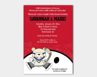 Polar Bear Hockey Sports Theme Boy Baby Shower Invitations Red and White bs-114