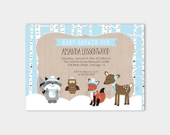 Winter Woodland Blue Boy Baby Shower Invitations Forest Animals Birch Trees | Printable Baby Shower Invitation bs-066