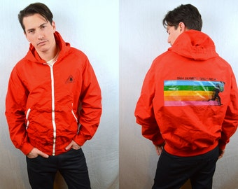 Rare Vintage 1984 OLYMPIC Torch Relay USA Levis Warm Up Hooded Windbreaker Jacket Coat