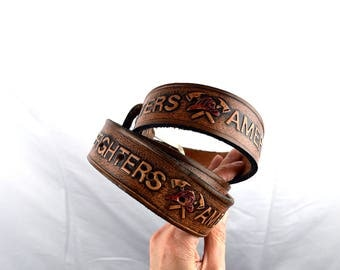 Vintage Tooled Leather Belt - America's Firefighters
