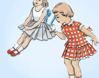 1950s Vintage Advance Sewing Pattern 5616 Cute Toddler Girls 2 Pc Dress Size 4