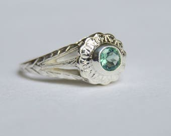 Silver Ring, Engraved Ring, Empire Daisy Ring, Fluorite Ring, Green Gemstone Ring