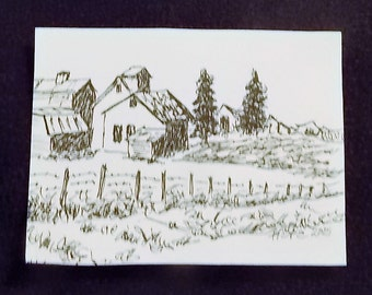 "ACEO Landscape, Artist Trading Card, Pen and Ink, 2"" x 3"" Art Drawings, Original Art, Country Art, Barn Sketch, Small Art, ACEO Cards"