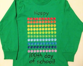 100 days of school shirt, smiley faces 100 days of school Tshirt, Happy 100th day, emoji tee, school shirt, 100th day celebration
