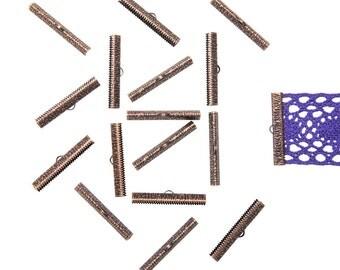 150pcs.  40mm ( 1  9/16 inch ) Antique Copper Ribbon Clamp End Crimps - Artisan Series