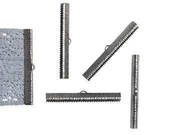 16 pieces  50mm  (2 inch) Gunmetal Ribbon Clamp End Crimps - Artisan Series