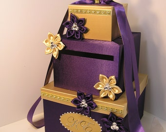 Wedding Card Box Purple and Gold Gift Card Box Money Box  Holder--Customize in your color- Customize
