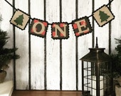 ONE Buffalo Plaid HighChair Banner - Lumberjack 1st birthday party banner - I am 1 Birthday Party Decoration - 1st Birthday Decor