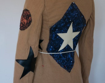 Galaxy Star Patched Earth Wizardess Long Tan Cream Coat