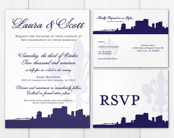 New Orleans Invitation Wedding Party Printed Flat Other Cities available Travel Skyline Fleur de Lis