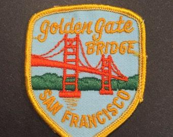 Vintage San Francisco embroidered travel patch Golden Gate Bridge California