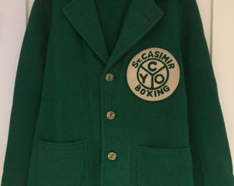 SALE! Vintage letterman jacket coat boxing patch CYO St Casimir Chicago green blazer