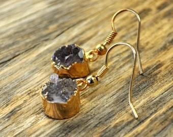 Holiday SALE - Druzy Earrings, Druzy Gold Earrings, Druzy Jewelry, Druzy Pendant Earrings, Druzy Gold Round Earrings, Druzy Stone, 14k Go...