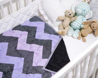 Hand Made chevron patchwork quilt