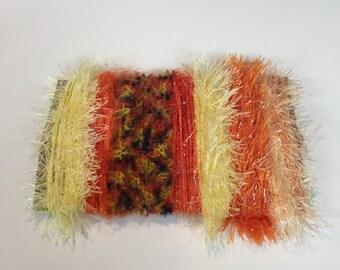 ice yarns SAMPLES fiber art bundle cards ORANGE YELLOW shades eylul eyelash sparkle glitz techhno grass crochet knitting scrap supplies