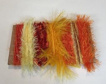 ice yarns SAMPLES fiber art bundle cards ORANGE shades angelo eyelash long lurex eylul sparkle crochet knitting scrap booking supplies