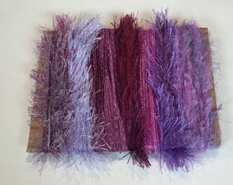 ice yarns SAMPLES fiber art bundle cards PURPLE SHADES crepe ribbon fun fur colorful lilac lavender  crochet knitting scrap booking supplies