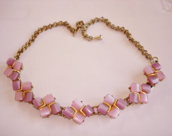 Pink Lucite Necklace Gold Tone
