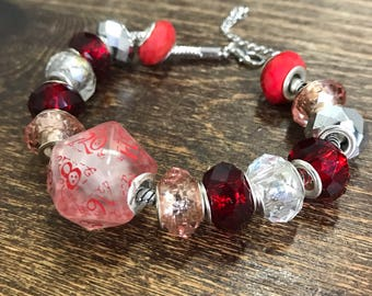 D20 dice bracelet dungeons and dragons dice red white dice D20 pathfinder dice bracelet red D20 qworkshop dice jewelry