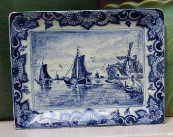 Delft Blue And White Pottery Hanging Wall Plaque Made in Holland Windmill Sailboat VINTAGE by Plantdreaming