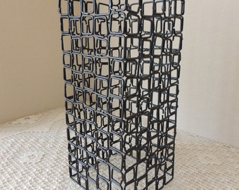 Modern Black Industrial Caged Pendant Light Shade. Twelve Inch Tall Black Metal Heavy Wire Jewelry Holder. Black Free Standing Jewelry Tree