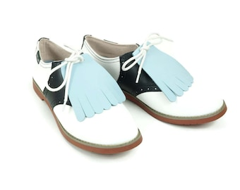 1950s Fashion Accessories, Shoe Accessories, Golf Shoe Kiltie, Cheerleading Uniform, Golf Gift, Leather Fringe, Swing Dance Shoe Decoration