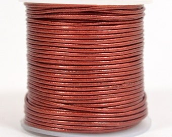 1mm Round Indian Leather - Rust Metallic - L1-244