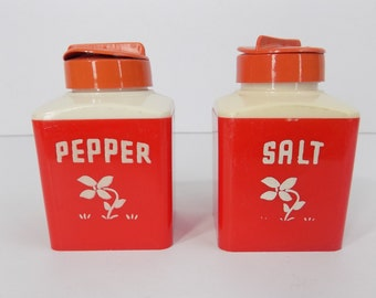 Vintage Red Salt and Pepper Shakers Dapol Plastics, INC Retro 1950's