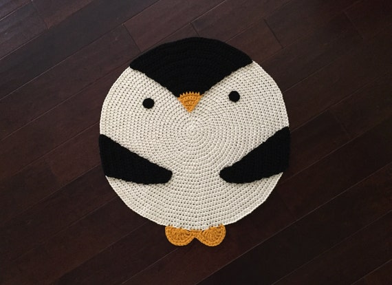 Crochet Penguin Rug, Crochet Rug, Room Rug, Floor rug, Wall Hanging rug, Children room rug, Any room rug