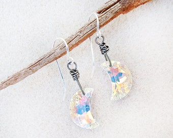 La Luna Crescent Moon Earrings, Swarovski Crystal, Fiery AB Crystal, Sterling Silver Earwires, Niobium Earwires available, Handmade Jewelry