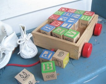 Toy Building Blocks in a wagon, Lot of 20 Toy Blocks, Alphabet Blocks, Childrens Toys, Aged Building Blocks, by mailordervintage on etsy