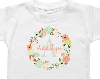 Personalized Baby Bodysuit - Toddler Shirt Tshirt - Baby Girl Gift - Coral Floral Wreath Flowers
