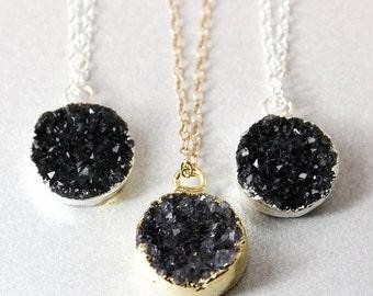50 OFF SALE Black Druzy Necklace - Round Druzy Pendants - Gold or Silver