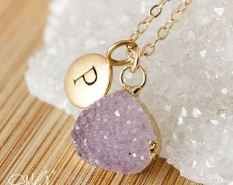 50 OFF SALE Druzy Necklaces - Multi-Colour Druzy - Choose Your Druzy, Initial Necklace