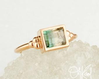 Rose Gold Green Tourmaline Ring - Rectangle Cut Green Tourmaline - Heirloom Ring