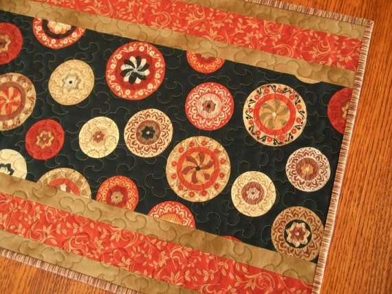 Quilted Table Runner in Brick Red Black and Brown, Rustic Modern Western Table Runner, Quilted Table Mat, Quilted Tablecloth