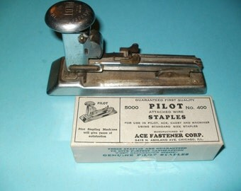Vintage Pilot Stapler and Original Partial Box of staples , Collectibles, decorative, display, functional, Shabby Chic, crafts, office