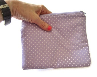 Zipper Pouch, Small Clutch Purse, Cosmetic Bag, Purple Change Purse, Essentials Bag, Polka Dot