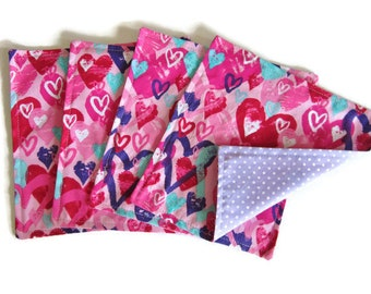 Kids Cloth Napkins, Cotton Reversible Napkins, Set of 4, Pink and Purple, Double Sided Lunchbox Napkins,  Reusable, Girls, Washable, 2 Ply