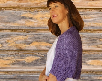 Knit Shrug Pattern, Cotton Knitted Shrug with Ribbed Sleeves, Easy to Knit Accessory Pattern, Knitting Patterns