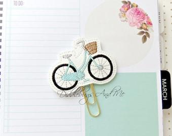 Bicycle Planner Clip, Aqua Bicycle Paper Clip, Vinyl Paper Clip, Accessory For Planner, Bicycle With Basket Planner Clip, Vinyl Planner Clip