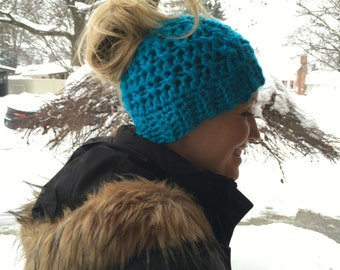 Messy bun ponytail beanie hat crochet hole top hat