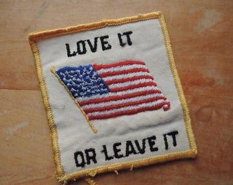 Love It or Leave It USA vintage trucker pocket appliqué America patriotic patch