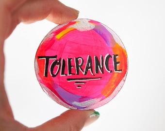 Mantra Art, Word Magnet, Inspirational Art, Affirmation, Neon Pink, Tolerance Word, Pink Gift, Motivational Gift, Office Decor, Home Gift
